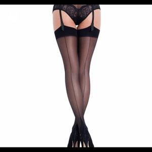 NWT Agent Provocateur L'Agent Black Seam Stockings